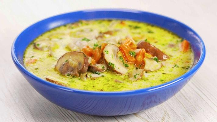 Рецепт грибного супа из шампиньонов с плавленным сыром