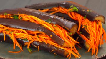 морковь по-корейски и баклажан